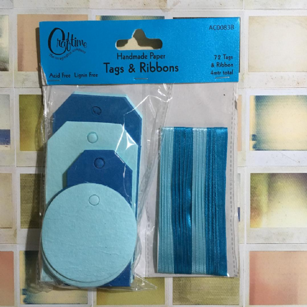 Craftime Handmade Paper Tags & Ribbons Blue